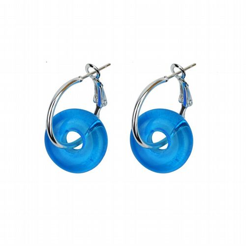 Murano Glass Earrings - Aquamarine & Silver